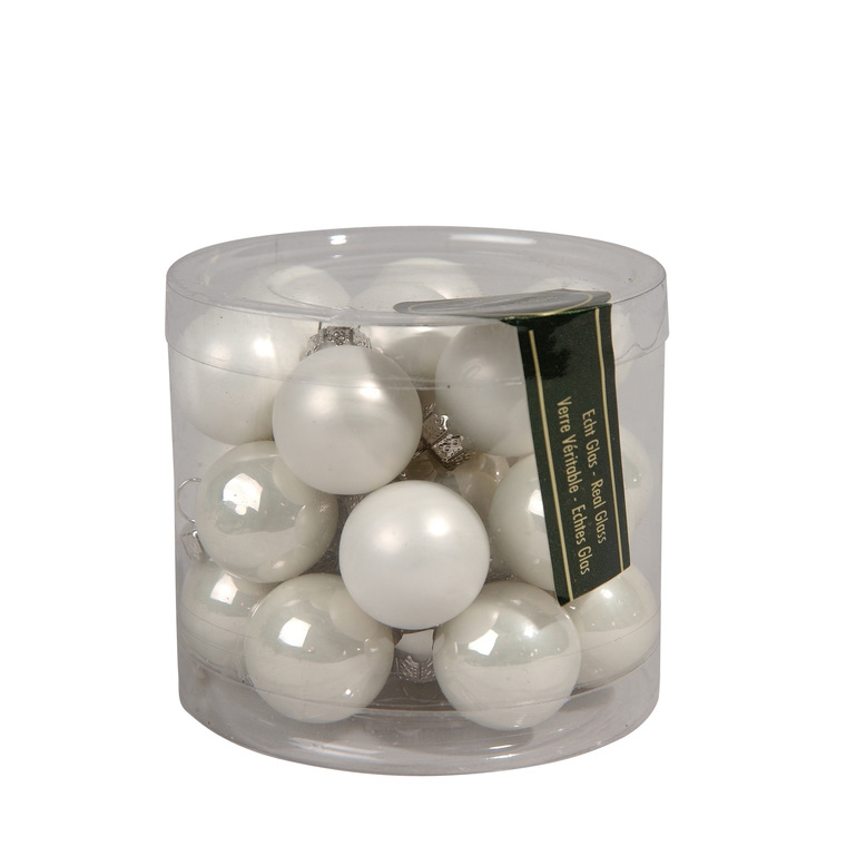 Boite de 24 mini-boules en Verre blanc brillant et mat – Ø 2,5 cm 471979