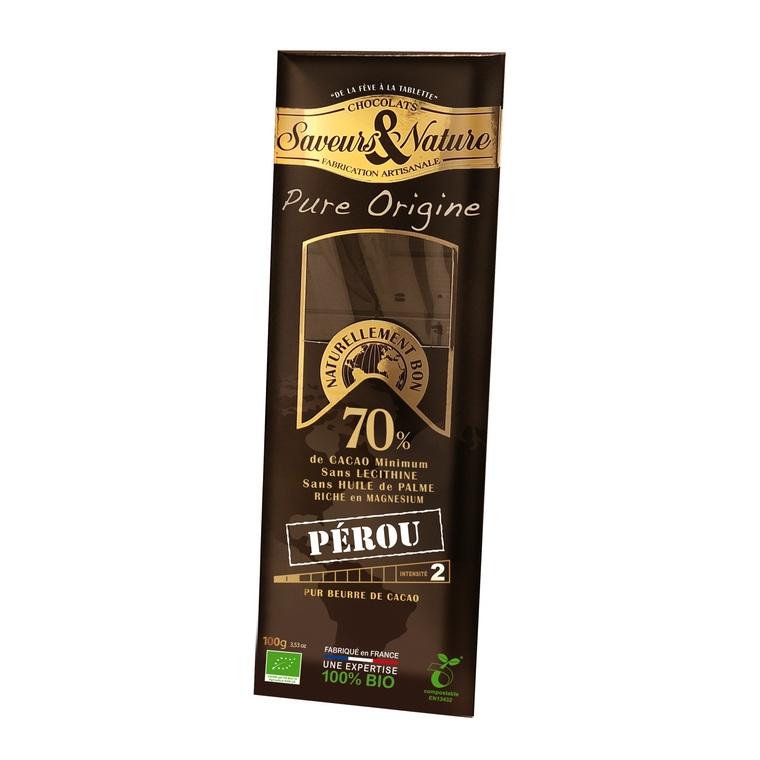 Tablette de chocolat noir grand cru Pérou 100 g