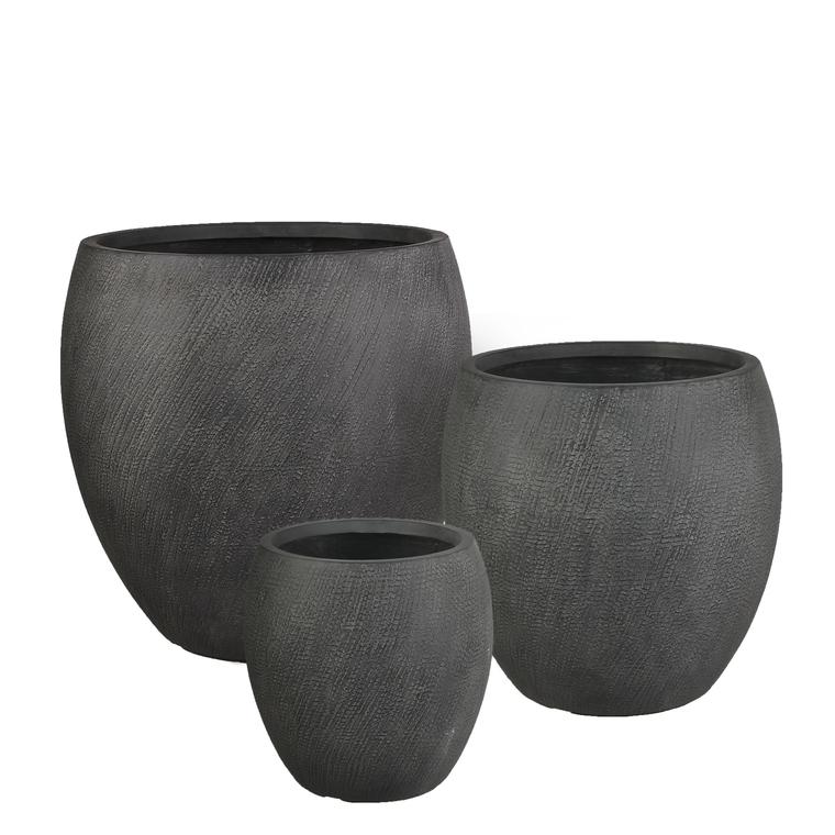 Pot rond haut Linea coloris noir de 31 L Ø 34 x 34 cm 487374