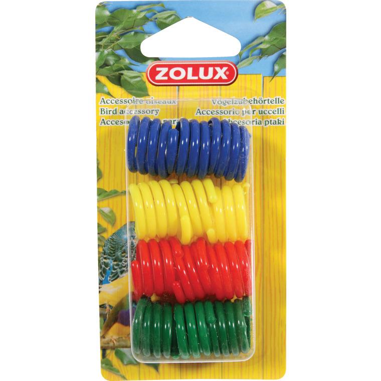 Bague pour poules 3 couleurs en plastique par lot de 12 487719