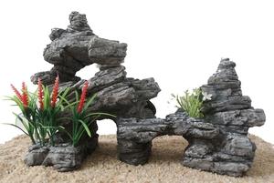 Décor aquarium rocaille zen grise 24cm