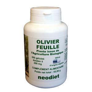 Gélules de feuilles d'olivier bio en boite de 200 unités 50142
