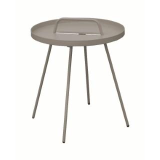 Table basse nomade en acier coloris taupe Ø 51 H 44 cm 501835