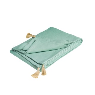 Plaid Léo en coton lavé coloris vert lichen de 130 x 180 cm 504241