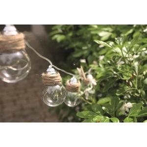 Guirlande solaire Swing 10 ampoules LED blanc chaud et corde 180 cm 504931