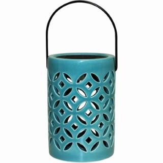 Lanterne solaire Coralia en céramique bleue à LED Ø 11 x 16,5 cm 504932