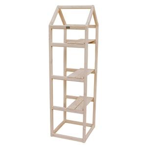 Support étagère en bois naturel forme Tour pour balcon 40x40x140 cm 505039
