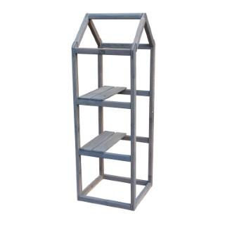 Support étagère en bois gris forme Tour pour balcon 40x40x120 cm 505040