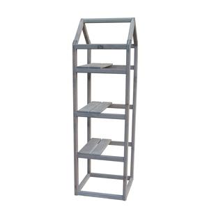 Support étagère en bois gris forme Tour pour balcon 40x40x140 cm 505041