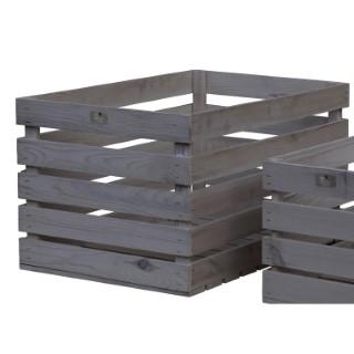 Caisse en bois de pin gris 59,5x39x33 cm 505057