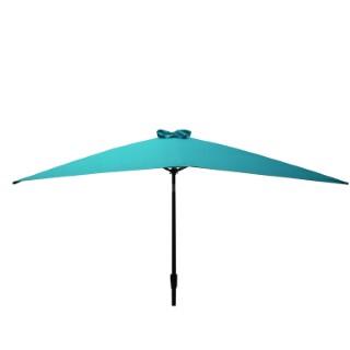 Parasol rectangulaire inclinable à manivelle bleu 200 x 300 cm 505481