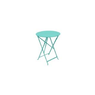 Table pliante ronde bistro en acier coloris bleu lagune Ø 60 H 74 cm 507558