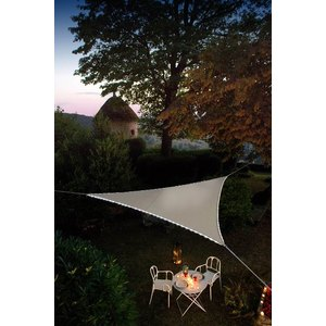 Voile d'ombrage triangulaire taupe avec LEDs solaires 3,6 m 509990