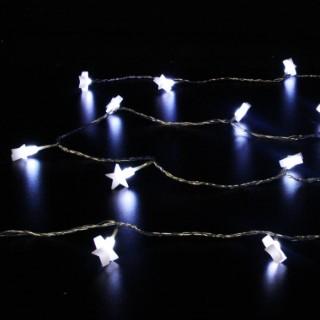 Guirlande 20 étoiles opales 3m à pile 51886