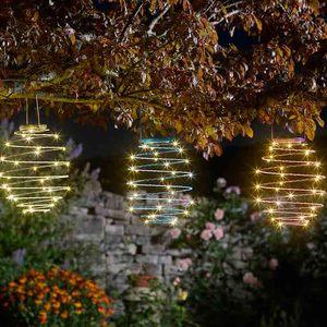 Lanterne solaire à suspendre spirale à LED blanc chaud 524961