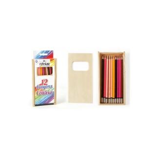 Boîte en bois de 12 crayons de couleur 19x10,5x2 cm 526326