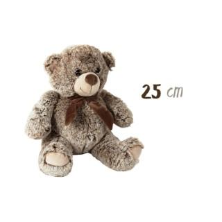 Peluche ours marron avec ruban - H.25 cm 526344