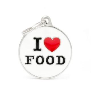 Médaille charms I love food pour chien en métal 534352