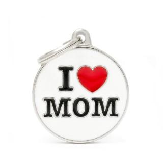 Médaille charms I love mom pour chien en métal 534353