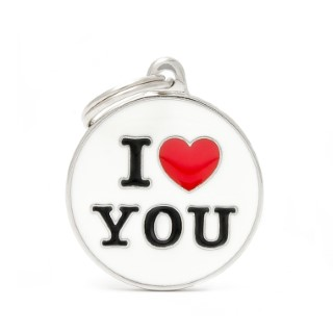 Médaille charms I love you pour chien en métal 534354