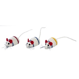 Jouet Mouse en sisal blanc bande rouge 10x5 cm 535896
