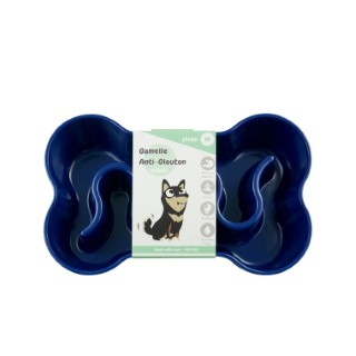 Gamelle pour chien anti-glouton bleue taille M 400 ml 536038