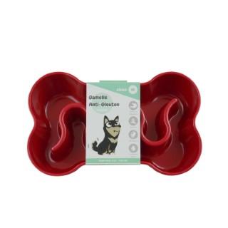 Gamelle pour chien anti-glouton rouge taille M 400 ml 536040