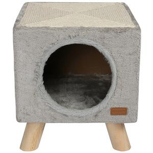 Maison pilotis avec griffoir de coloris gris 30 x 30 x 35 cm 536070