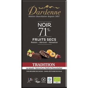Tablette chocolat noir tradition fruits secs 71% cacao sans gluten 180g 53903