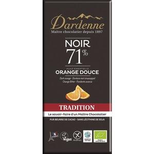 Tablette chocolat noir tradition Orange douce 71% cacao sans gluten 70g 53904