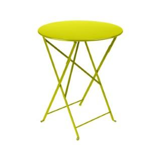 Table ronde pliante Bistro Fermob en acier coloris verveine Ø 60 cm 55097