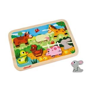Chunky puzzle en bois thème de la ferme – Jouet 1er âge 552145