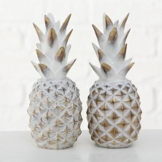 Ananas à poser en résine synthétique blanc et or Ø 10 x H 23 cm 553989
