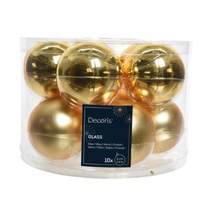 Boite de 10 boules de couleur or clair brillant et mat – Ø 6 cm 55458