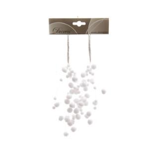 Suspensions boule de neige blanches 29cm 556836