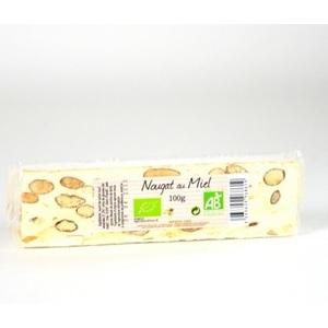 Nougat blanc au miel bio en barre de 100 g 557875