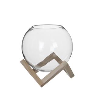 Boule en verre Tokio sur support en bois petit modèle H 28 x Ø 25 cm 568543