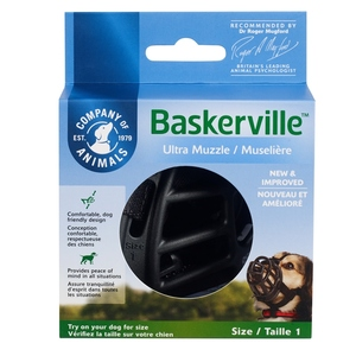 Muselière pour chien noire caoutchouc thermoplastique Baskerville Ultra – Taille 1 584336