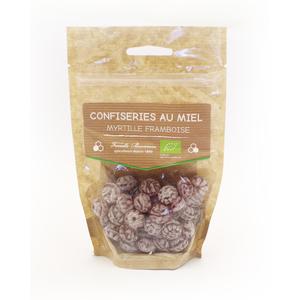 Bonbons au miel bio goût framboise et myrtille de 120 g 58827