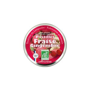 Pastilles fraise gingembre. La boîte de 45 g 592805