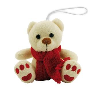 Ours à suspendre beige écharpe rouge Hauteur 8 cm 59917