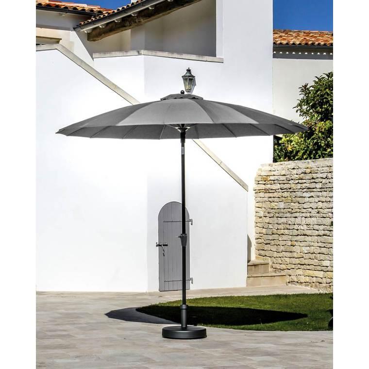 Parasol pagode à manivelle coloris gris Ø 300 cm 501724