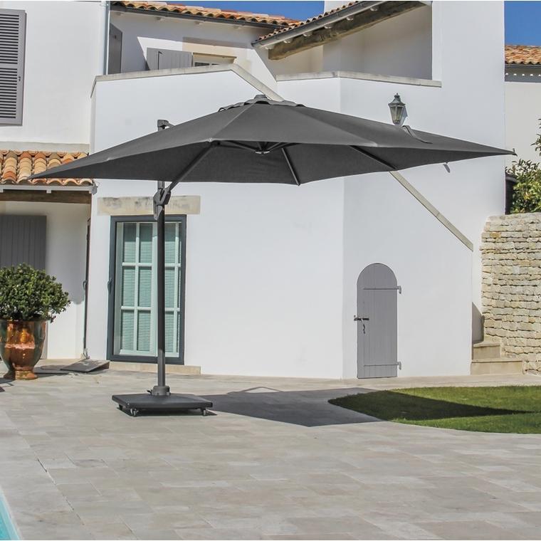Parasol déporté rotating carré gris 400 x 400 cm 501849