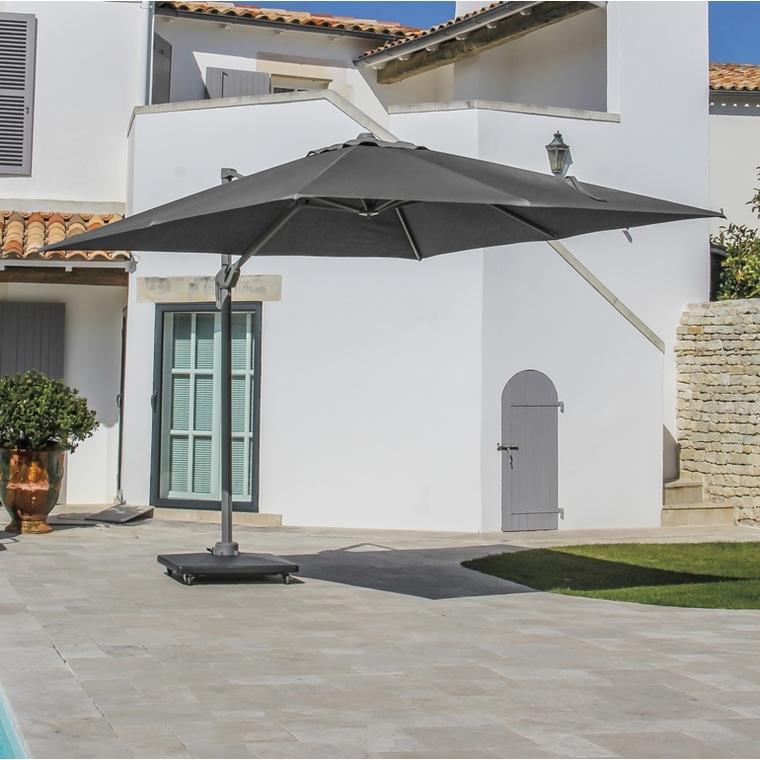 Parasol déporté rotating carré taupe 400 x 400 cm 501850