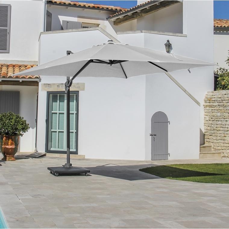 Parasol déporté rotating carré blanc écru 400 x 400 cm 501852