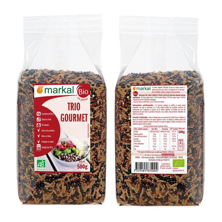 Trio gourmet de riz, lentilles et quinoa rouge bio en sachet de 500 g 504833