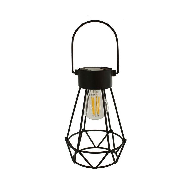 Lanterne Britt métal et verre noir à LED blanc chaud H 17 cm 504924