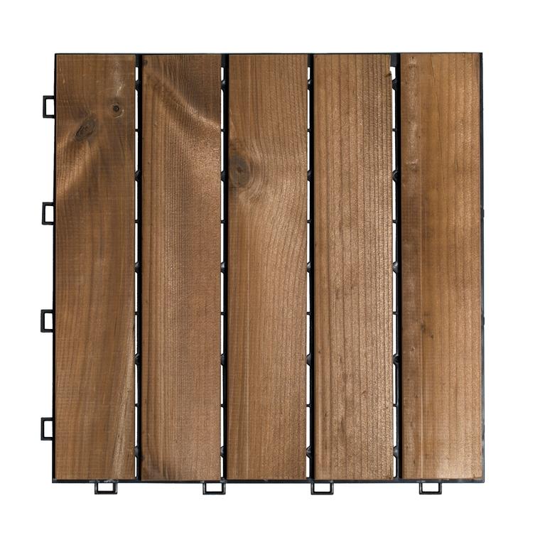 Caillebotis en pin thermotraité clipsable 30x30x1,8 cm en boite de 4 505066