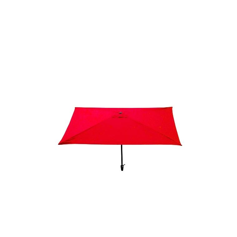 Parasol rectangulaire inclinable à manivelle rouge 200 x 300 cm 505474
