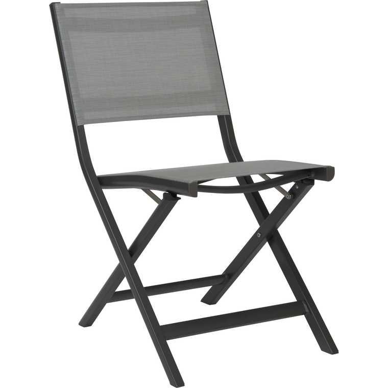 Chaise pliante Nils en aluminium coloris anthracite de 49 x 65 x 88 cm 506563